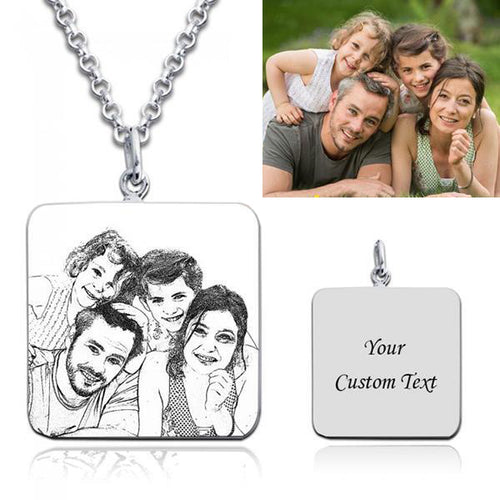 Square Scratch Photo Printed Custom Photo Necklace-Personalized Photo Necklace With Custom Words, Name, Date