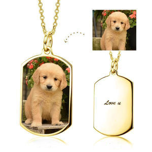 Personalized Pet Photo Necklace- Custom Cat, Dog Photo Necklace