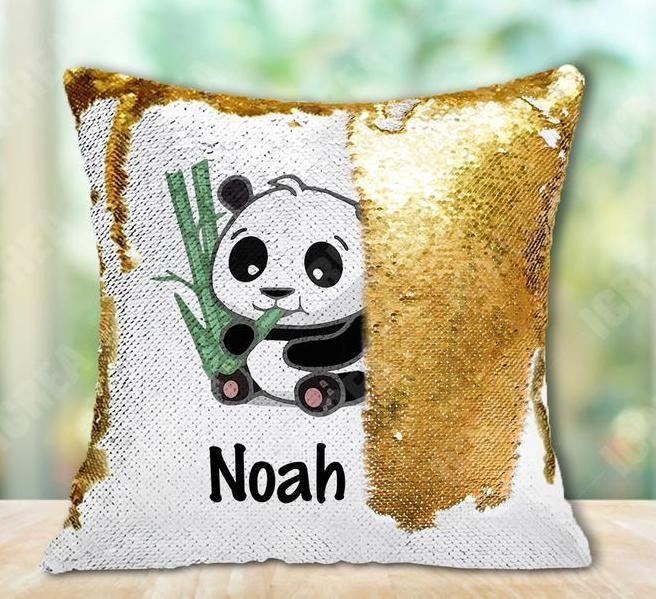 Personalized Giant Panda With Bamboo Sequin Pillow Cushion Cover