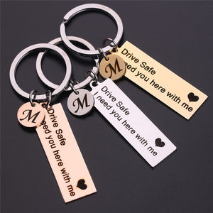 Drive Safe keychain With Heart And Initial