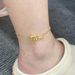 Custom Crown Name Anklet Bracelet- Christmas gifts 2021