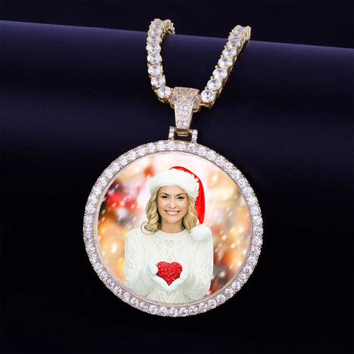 Personalized Photo Medallions Necklace Christmas Gifts For Women