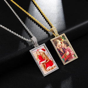 Custom Made Square Photo Medallion Necklaces Christmas Gifts For Mom