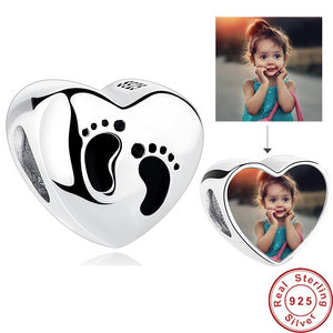 Personalized 925 Sterling Silver Heart Photo Charms