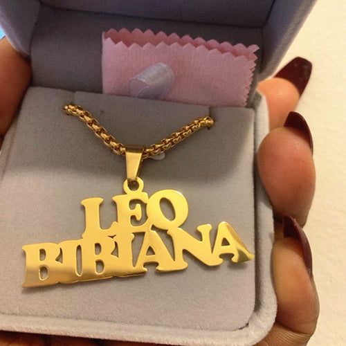 Name Necklace With Punk Box Chain - Add Up To Three Names