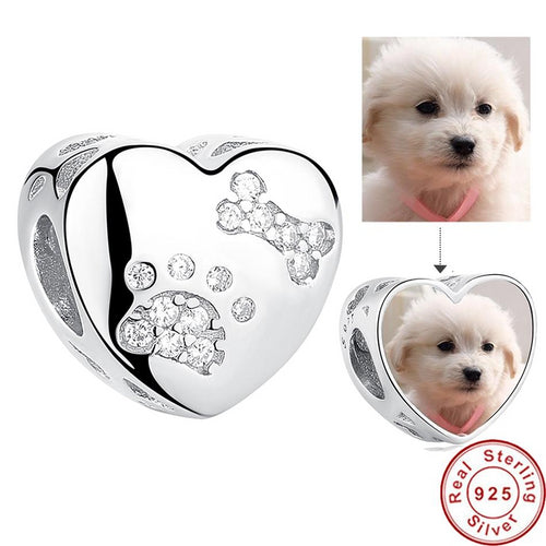 Pet Paw Print Heart Photo Charm Silver