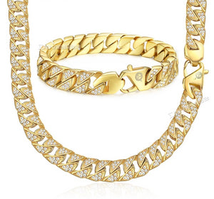 HipHop Cubic Zirconia Necklace & Bracelet Set