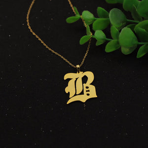 Personalized Letter Pendant Necklace In Old English Font