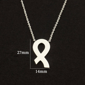 Breast Cancer Awareness Ribbon Pendant Necklace