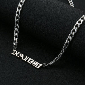 Custom Name Necklace-Curb Chain