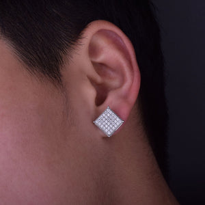 Hip Hop Earrings- 12x12mm Micro Pave Cubic Zircon Earring