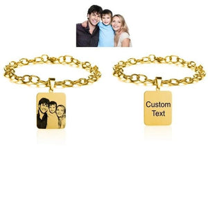 Customized Engrave Photo Adjustable ID Tag Bracelet