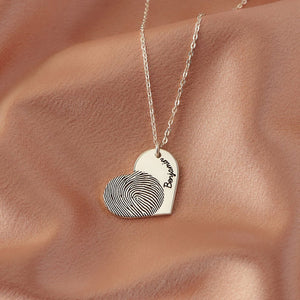 Personalized Fingerprint Heart Shape Name Necklace