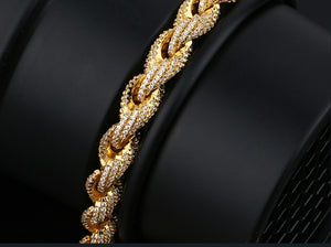8mm Rope Chain Rhinestone Bracelets- 18K Gold Plated Hip Hop Bracelet