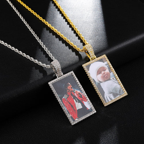 Custom Made Square Photo Medallion Necklaces
