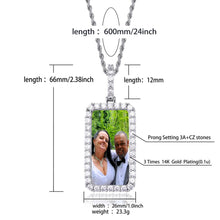 Custom Square Photo Medallion Necklace With Sparkle Stone