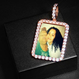 18K Gold Plated Custom Made Square Photo Medallion Pendant Necklace