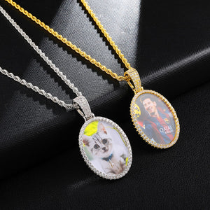 Custom Photo Oval Medallions Necklace