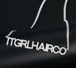Custom Name Necklace With CZ stone
