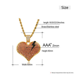 Broken Heart Pendant Necklace - Hip Hop Jewelry For Women Men