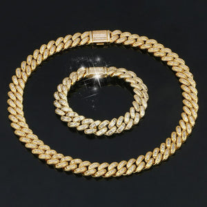 18K Gold Plated Miami Cuban Chain Bracelet And Hip Hop Link Choker Necklace Miami Jewelry