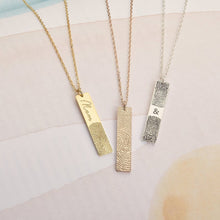 18k Gold Plated Custom Fingerprint Bar Necklace