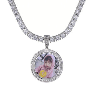 Custom Photo Zircon Round Medallions Necklace