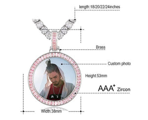 AAA+ Cubic Zirconia Personalized Photo Medallion Necklace