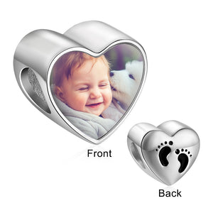 Personalized Baby Feet Heart Photo Charms