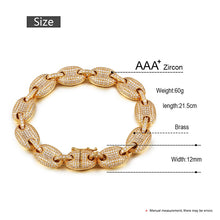 12mm Miami Bling Iced Out Rhinestone Link Chain Bracelet