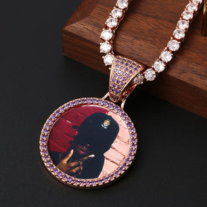 Custom Photo Medallions Necklace With Back Engraved Your Name And Date