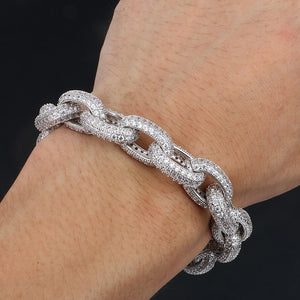 10mm AAA+ Micro Pave Iced Out Cuban Link Bracelet- Brand New Convict Type Cuff Bracelet