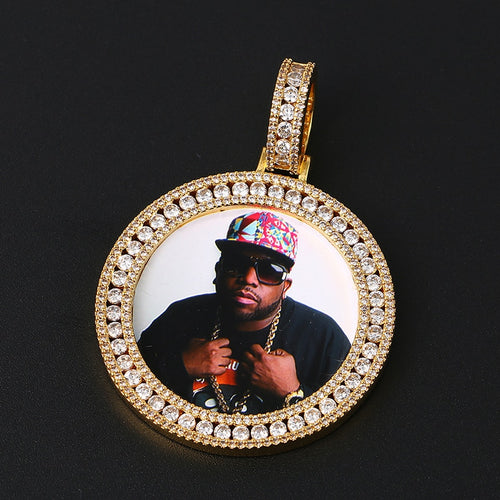 Double Roundness Stone Custom Photo Medallion Necklace- Hip Hop Necklace For Men