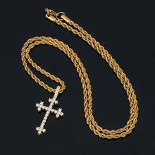 Cross With Bling Crystal Pendant Necklace - Religious Iced Out Necklace For Men
