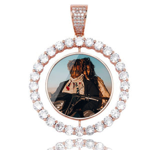 Custom Photo Rotating Double-Sided Medallions Pendant Necklace Christmas Gifts For Mom