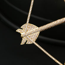 18K Gold Plated Rhinestone Bow Arrow Pendant Bling Hip Hop Jewelry