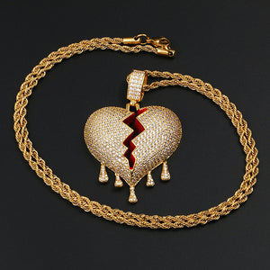 18K Gold Gold Drip Broken Heart Pendant Bling Hip Hop Jewelry