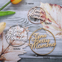 Customize Name Big Nameplate Circle Earrings