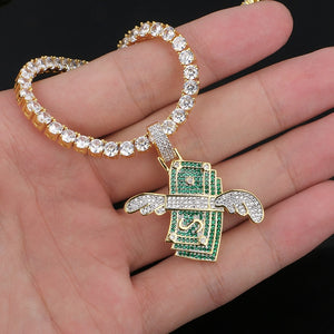 US Dollar Money Pendant Necklace-Bling Hip Hop Jewelry