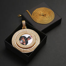 Brand New 18K Gold Plated Photo Turning Bling Medallion Big Pendant Necklace