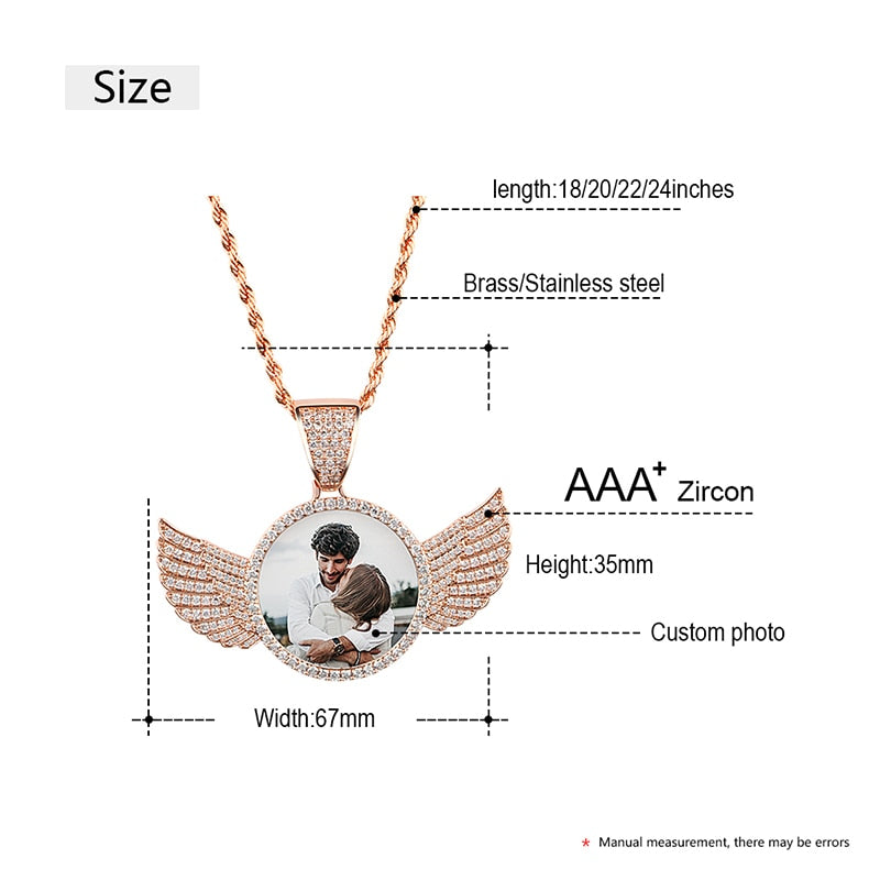 Ultrasound Memorial Picture Necklace With Wings