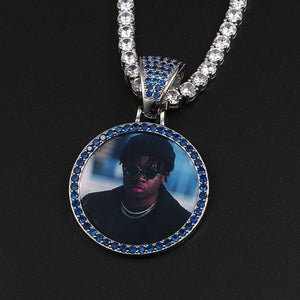 Personalize Blue Crystal Photo Medallion Necklace- Blue Crystal AAA+ CZ Diamond Medallion Necklace