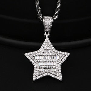 Punk Vintage Crystal Star Pendant Necklace