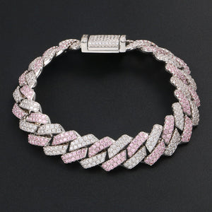13mm Cuban Chain Bracelet Hip Hop Jewelry- 3 Row Rhinestones Iced Out Pink Silver Bracelet