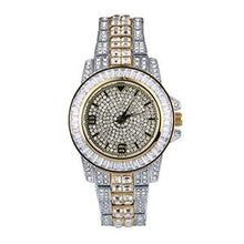 18K Gold Plated AAA+ CZ Crystal Diamond Watch- Rhinestone Crystal Iced Out Pendant Watch