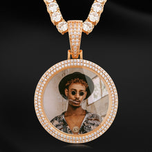 Double Row Crystal Photo Medallion Necklace
