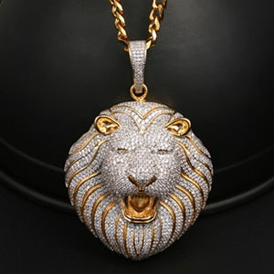18K Gold Plated Lion Head Pendant Necklace Bling Hip Hop Jewelry