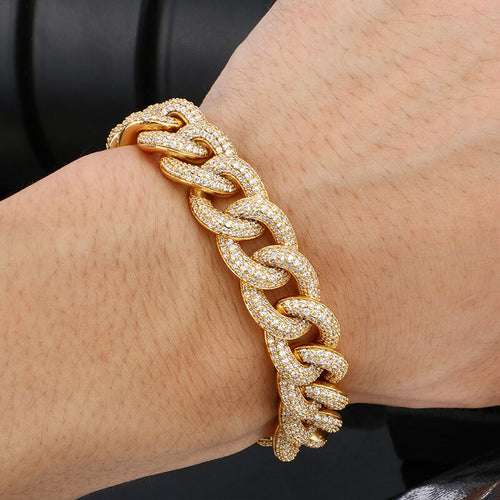 18K Gold Plated 14mm Thick AAA Micro Pave Bracelet- Miami Crystal Curb Cuban Link Chain Bracelet