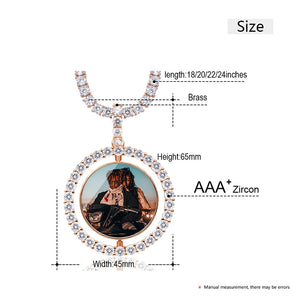 Custom Photo Rotating Double-Sided Medallions Pendant Necklace Christmas Gifts For Women