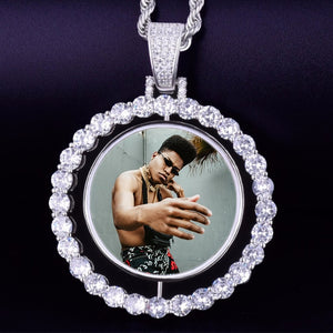 Custom Photo Rotating Double-Sided Medallions Pendant Necklace Christmas Gifts For Men